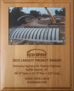Award plaque largest project